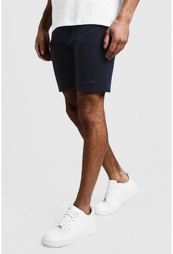 MAN Signature Mid Length Jersey Shorts, Navy