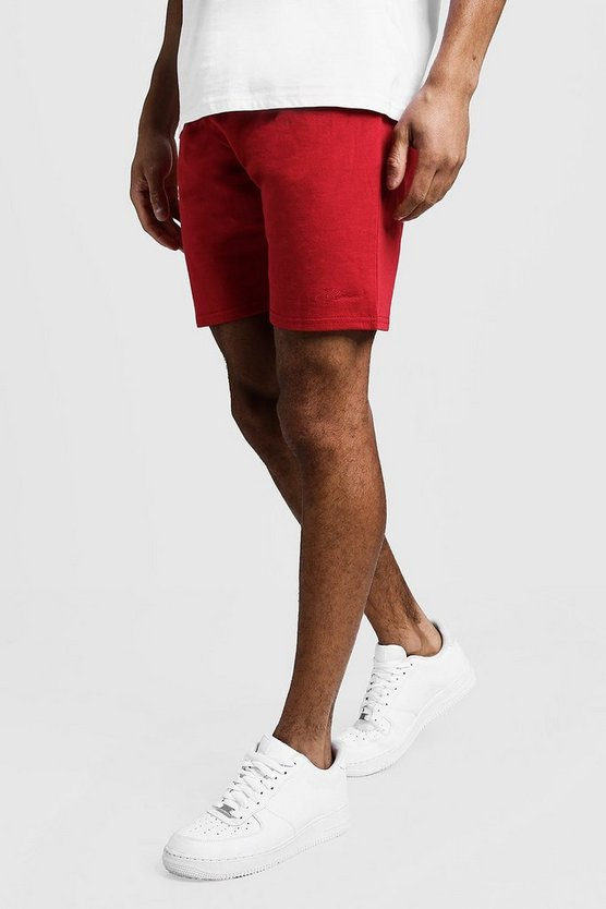 Mens Red MAN Signature Mid Length Jersey Shorts