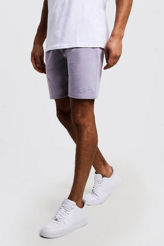 Mens Light grey MAN Signature Mid Length Jersey Shorts
