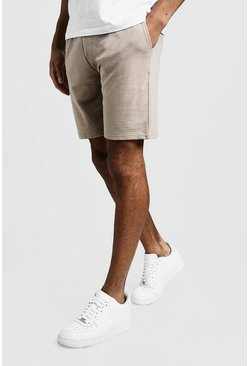 Mens Taupe MAN Signature Mid Length Jersey Shorts