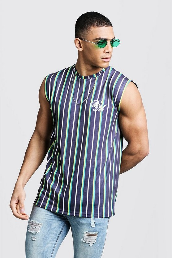 Mens Green BM Embroidered Stripe Drop Armhole Tank