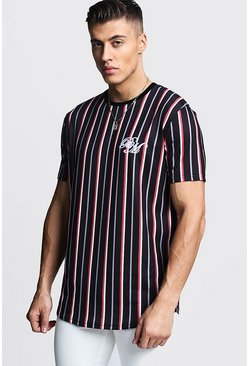 Mens Red BM Embroidered Curve Hem Stripe T-Shirt