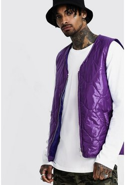 Zip Through Quilted Gilet, Purple, Uomo