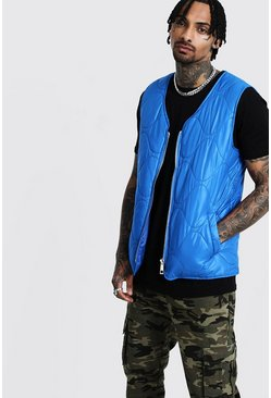 Mens Cobalt Zip Through Quilted Gilet