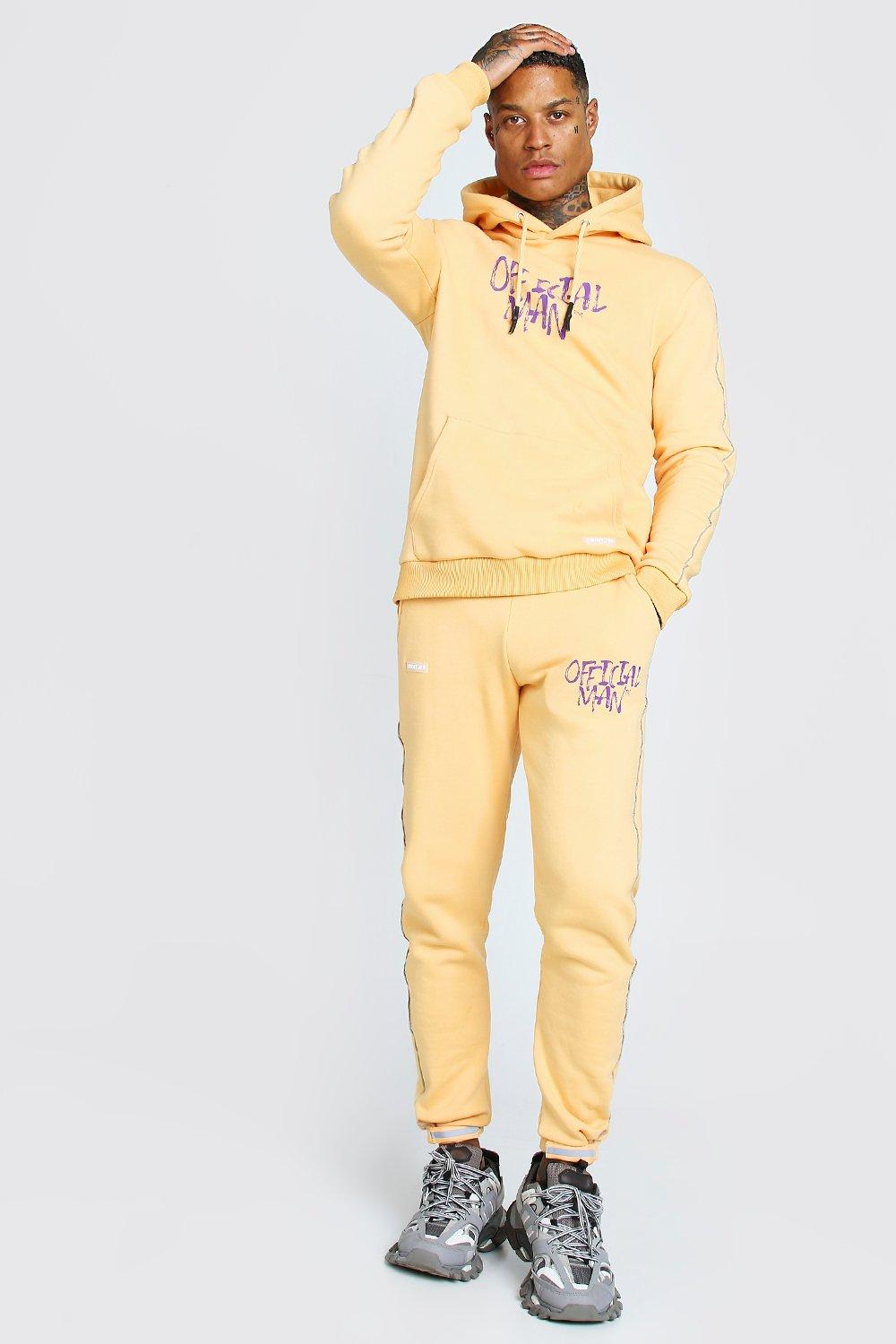 mens official man graffiti print tracksuit - orange