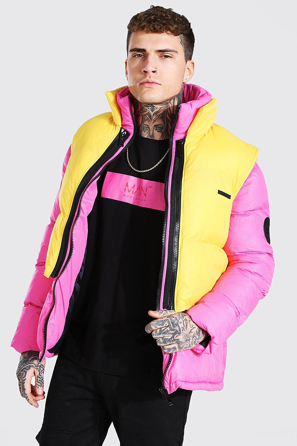 mens 2 in 1 puffer with removable gilet - pink