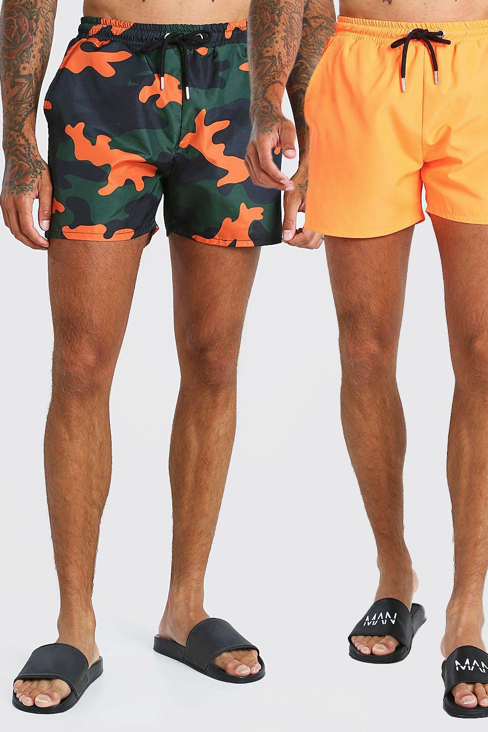 mens 2 pack camo print and plain mid length trunkss - orange
