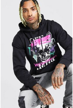 Black Official MAN Skull Drip Print Hoodie