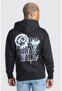 Oversized World Wild Back Print Hoodie, Black