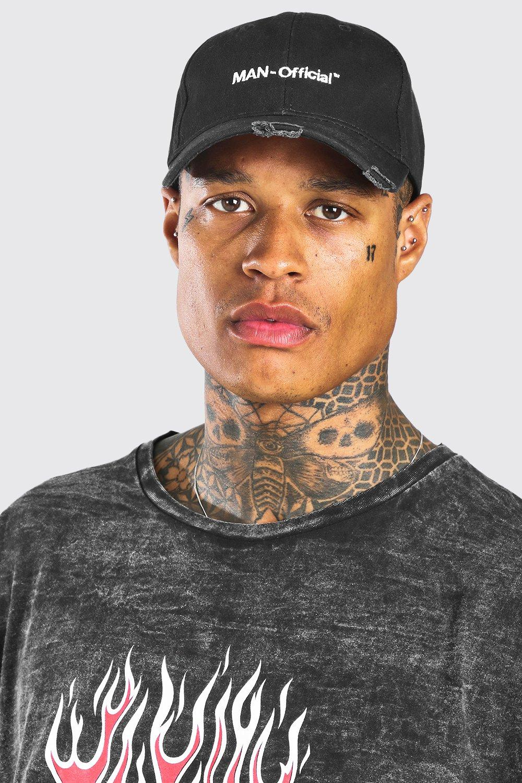 mens man official distressed curve peak cap - black