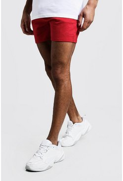 Mens Red MAN Signature Short Length Jersey Shorts