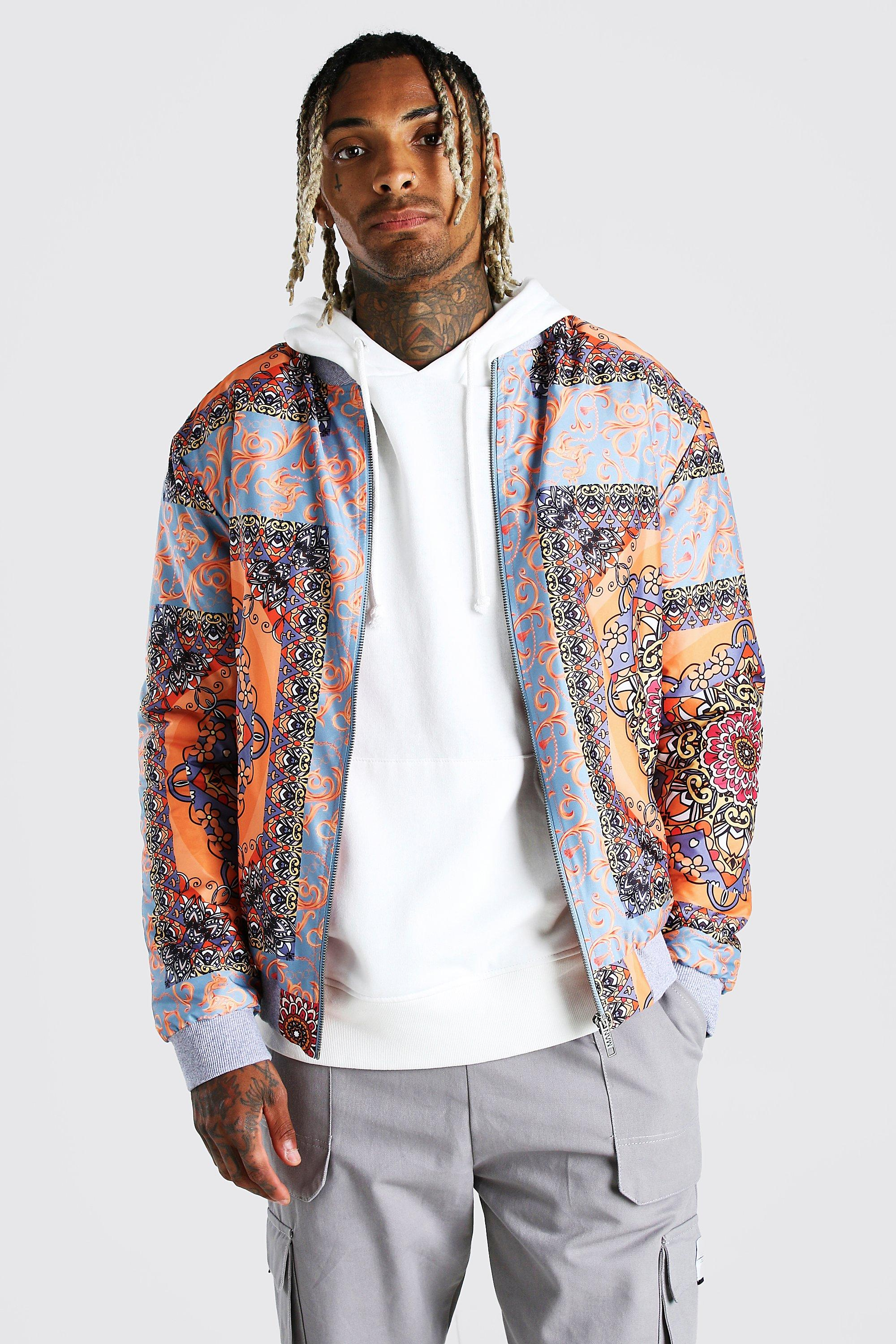 mens border print bomber - orange