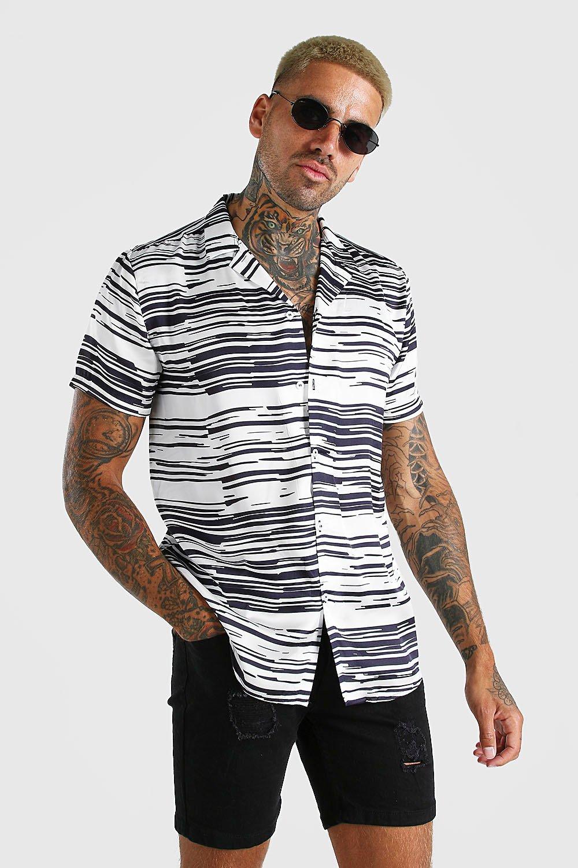 mens short sleeve revere collar satin stripe shirt - white