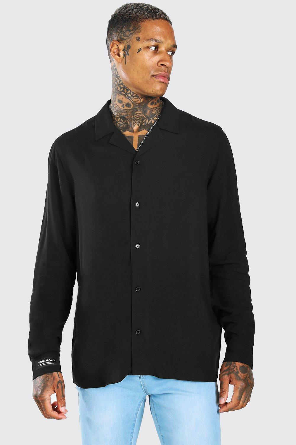 1940s UK and Europe Men's Clothing – WW2, Swing Dance, Goodwin Mens MAN Cuff Tab Long Sleeve Oversized Shirt - Black $10.00 AT vintagedancer.com