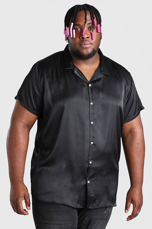 mens plus size satin shirt with revere collar - black