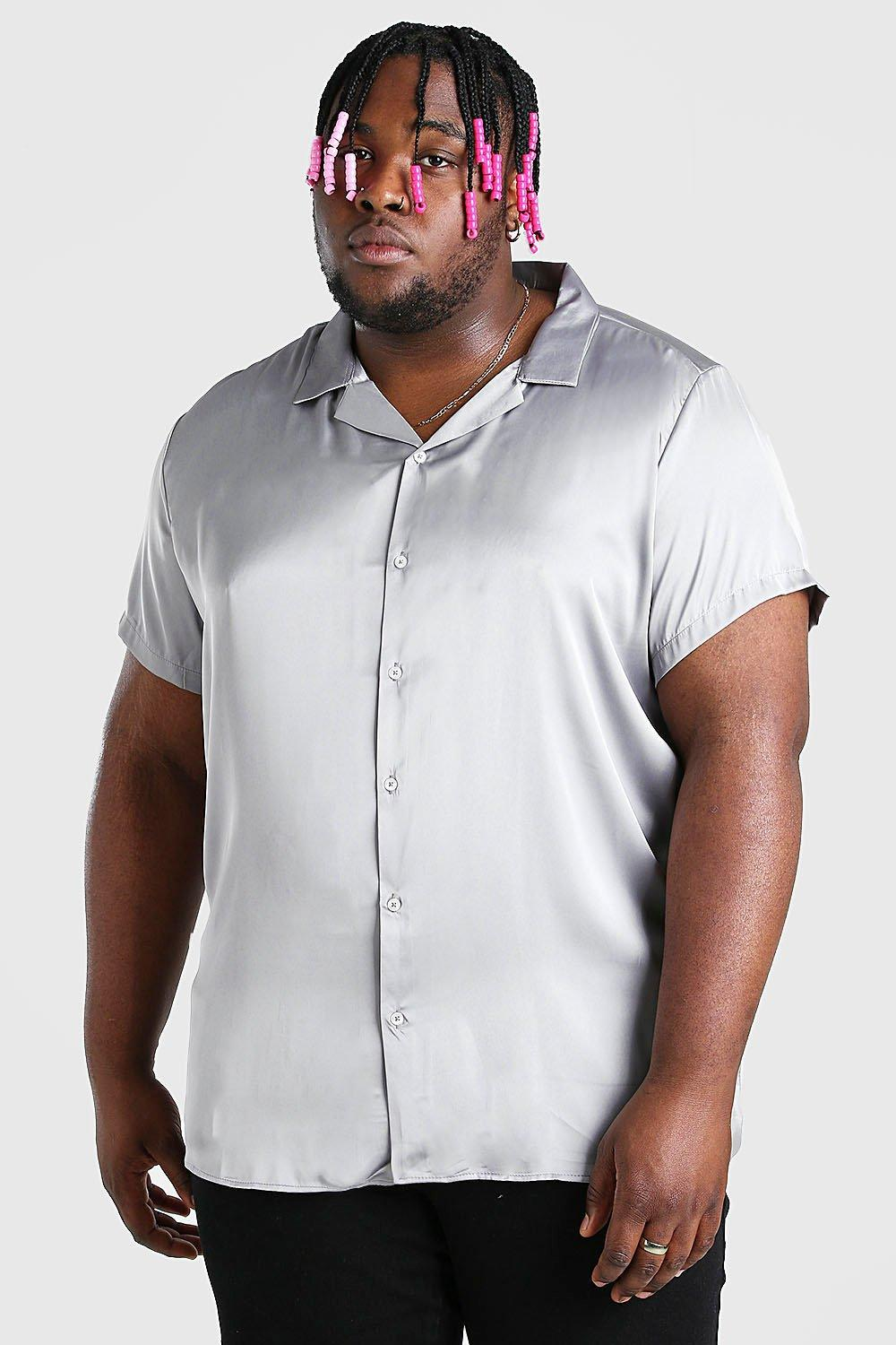 mens plus size satin shirt with revere collar - grey