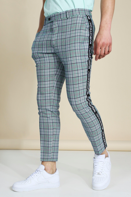 mens grey skinny crop check man taped tailored trouser, grey