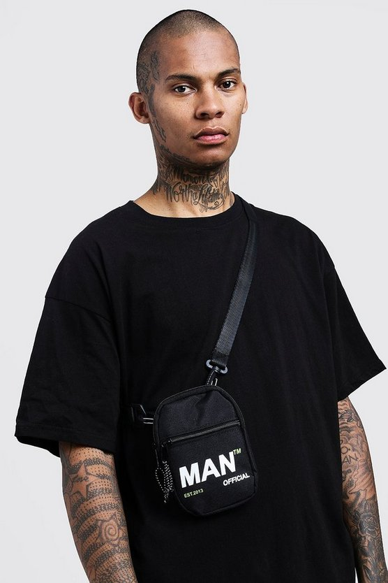 Black MAN Branded Crossbody