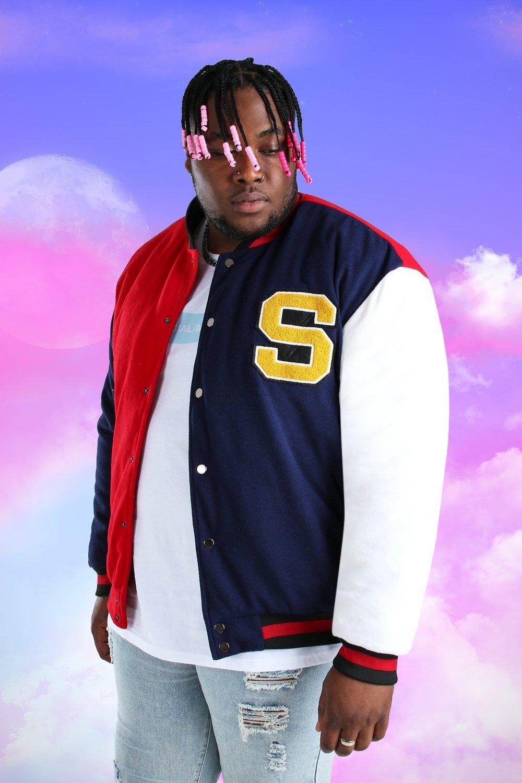 1980s Clothing, Fashion   80s Style Clothes Mens Plus Size Colour Block Varsity Bomber Jacket - Navy $33.00 AT vintagedancer.com