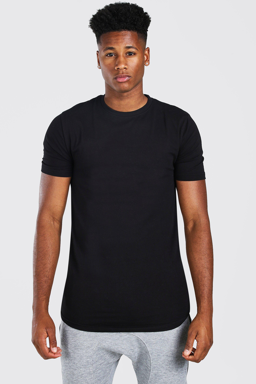 mens basic muscle longline curved hem t-shirt - black