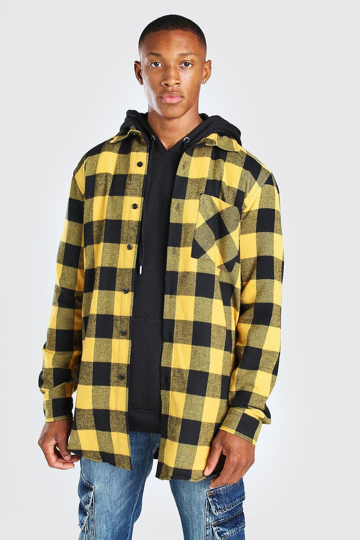 mens long sleeve longline flannel shirt - yellow