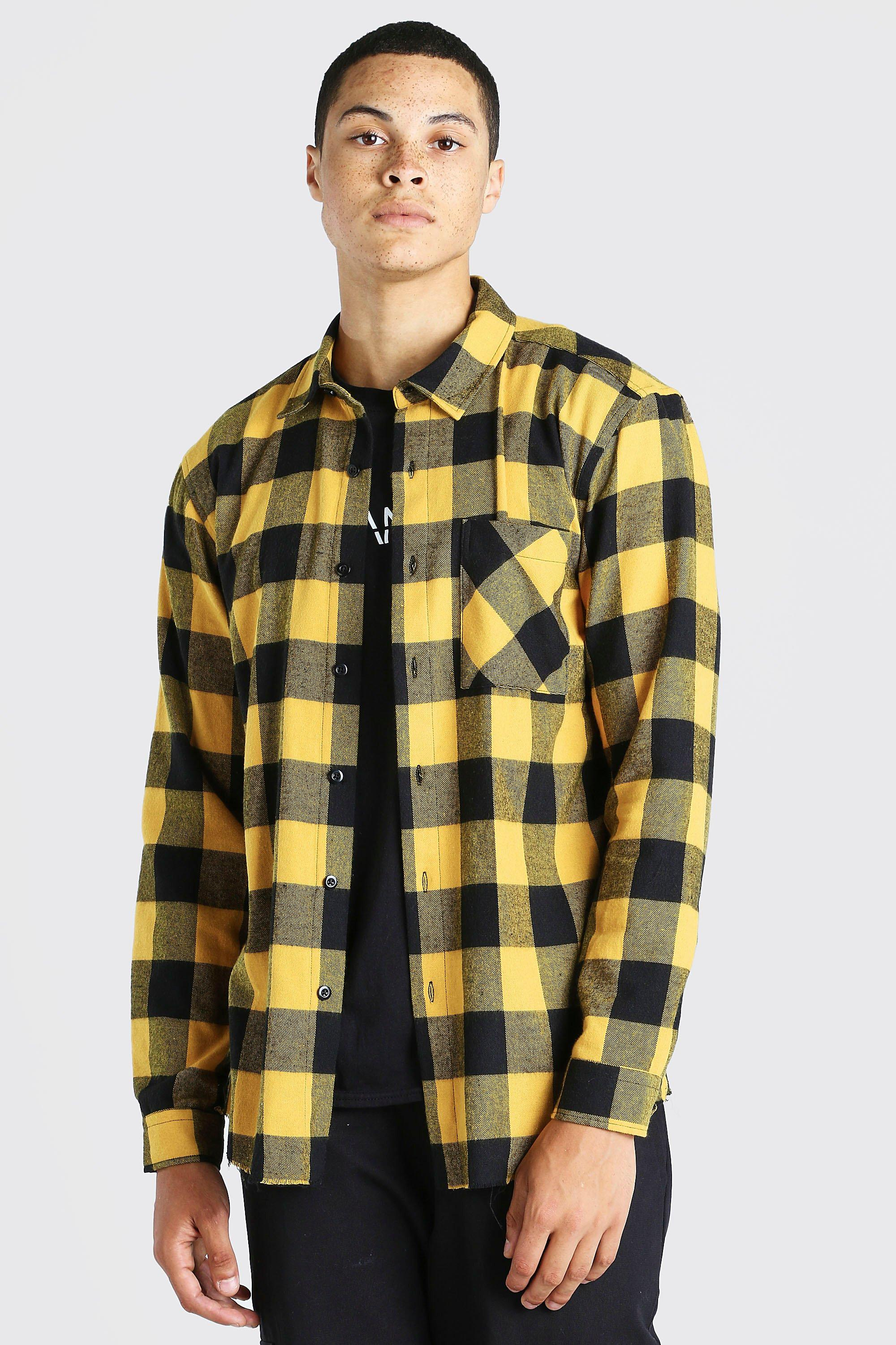 mens long sleeve flannel overshirt with distressed hem - yellow