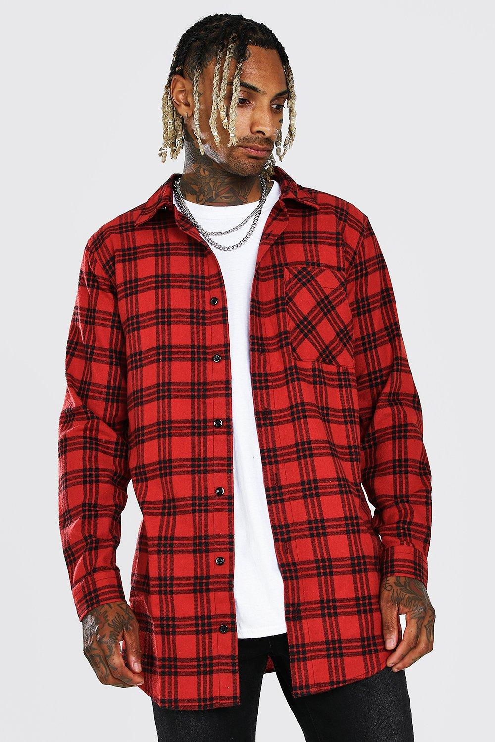 mens long sleeve longline flannel flannel shirt - red