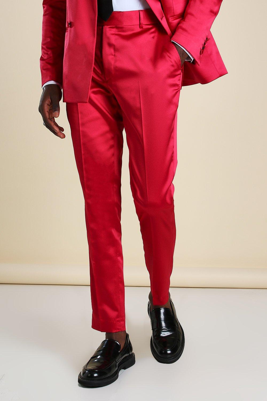 mens skinny plain sateen suit pants - red