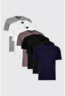 Mens 7 Pack Multi Basic Crew Neck T-Shirts