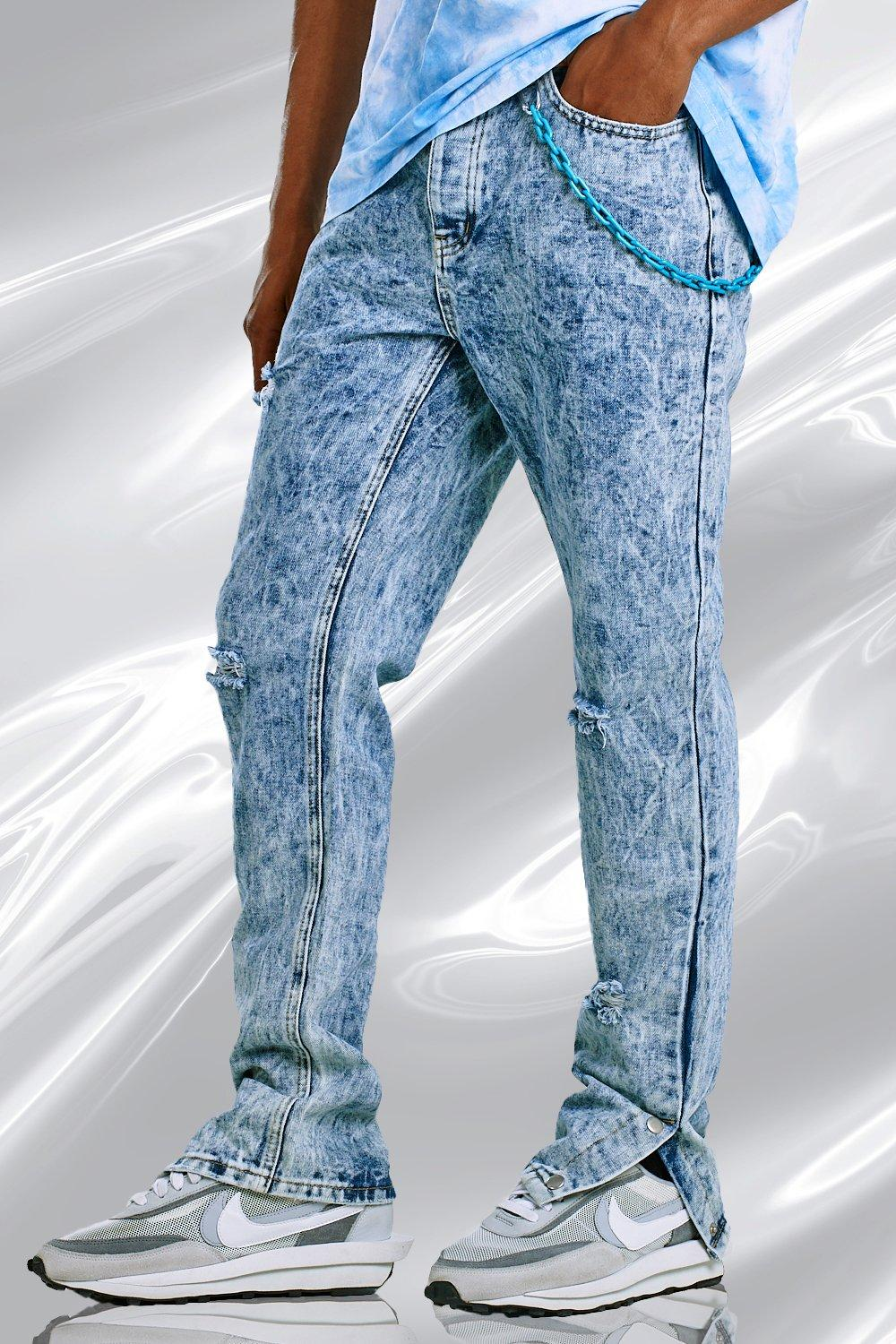 1980s Clothing, Fashion | 80s Style Clothes Mens Skinny Split Hem Bleached Jeans With Plastic Chain - Blue $24.00 AT vintagedancer.com