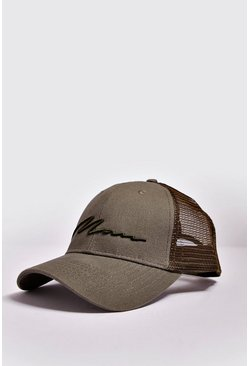 Mens Khaki MAN Script 3D Embroidered Trucker Cap