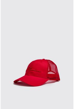 Mens Red MAN Script 3D Embroidered Trucker Cap