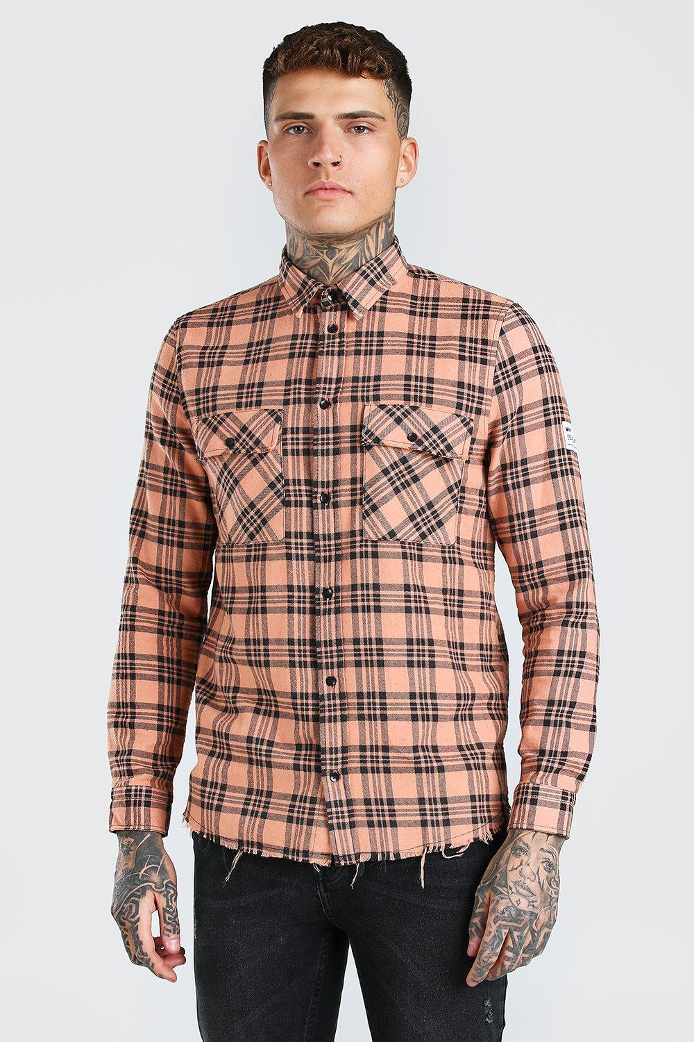 mens man flannel shirt with woven tab and raw hem - orange