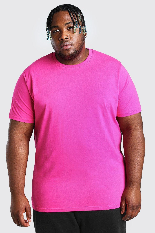 mens plus size longline basic t-shirt - pink