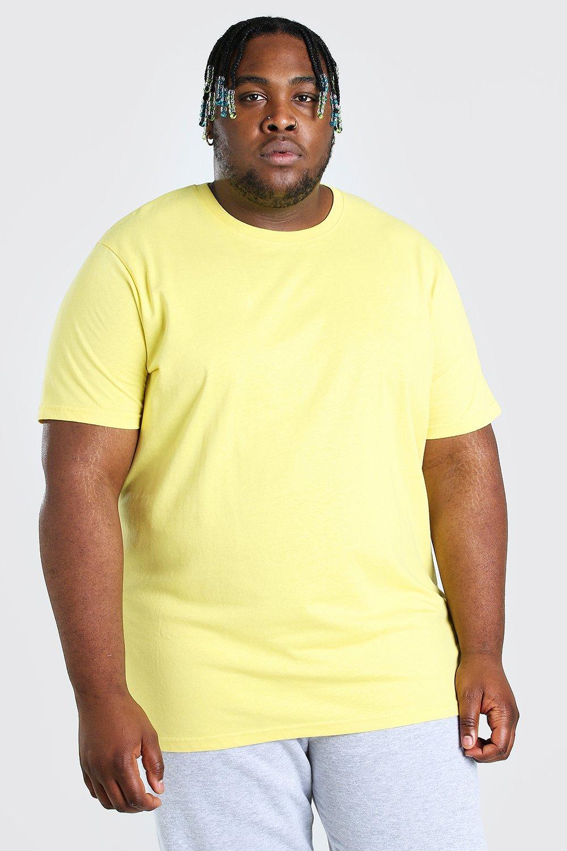 mens plus size longline basic t-shirt - yellow