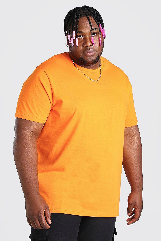 mens plus size longline basic t-shirt - orange