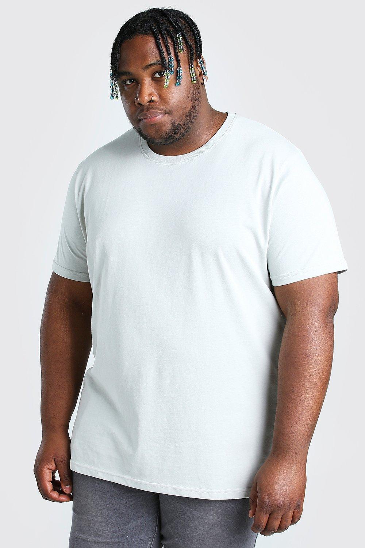 mens plus size longline basic t-shirt - grey