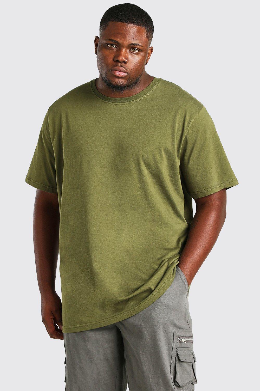 mens plus size longline basic t-shirt - green