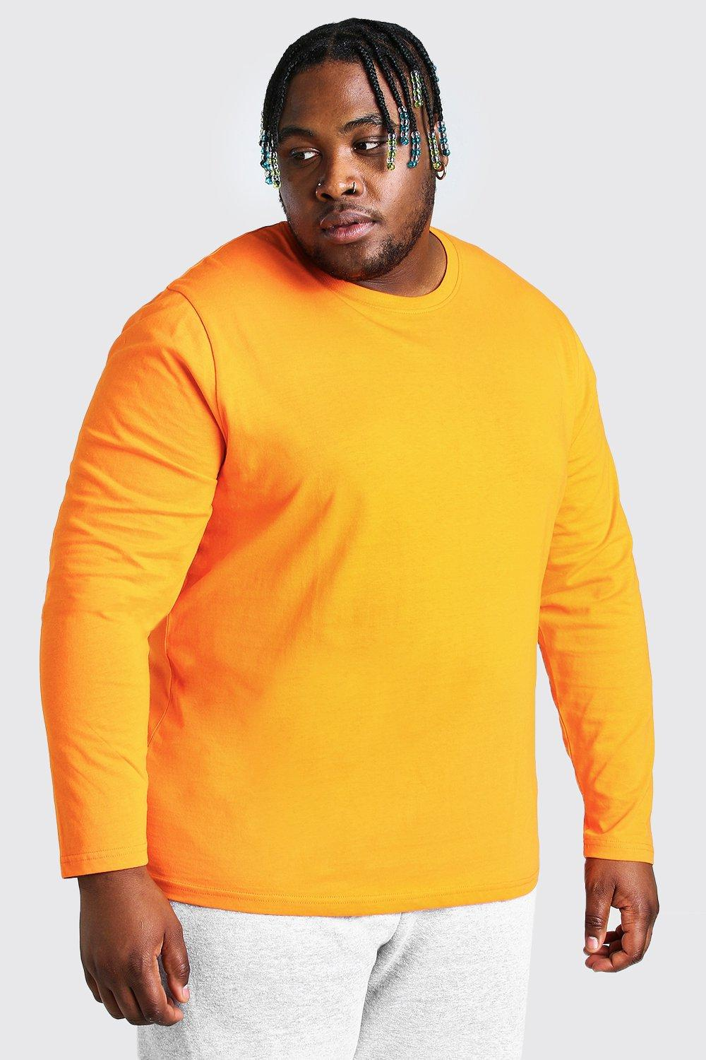 mens plus size basic long sleeve t-shirt - orange