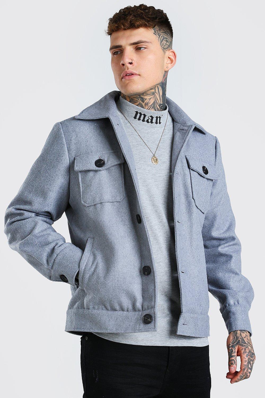 50s Men's Jackets | Greaser Jackets, Leather, Bomber, Gabardine Mens Wool Look Trucker - Grey $28.80 AT vintagedancer.com