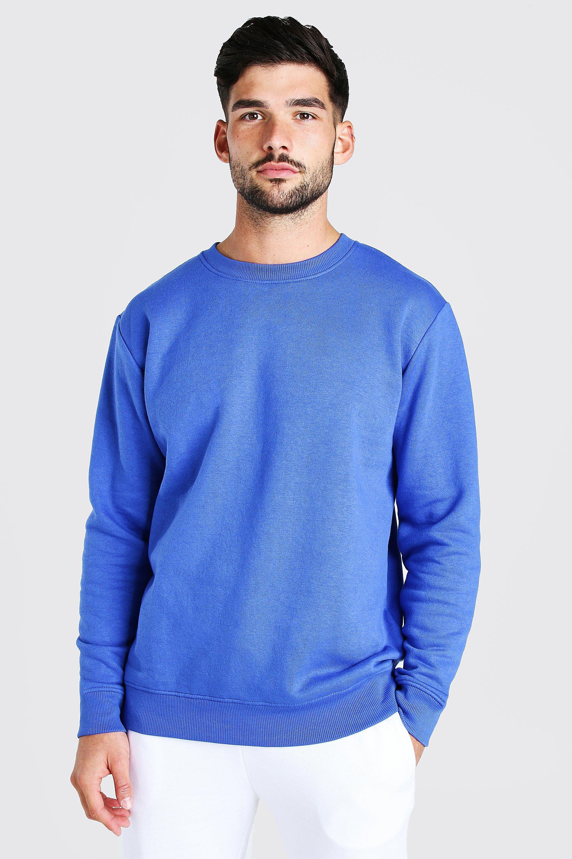 Men's Vintage Sweaters, Retro Jumpers 1920s to 1980s Mens Basic Crew Neck Fleece Sweatshirt - Blue $10.80 AT vintagedancer.com