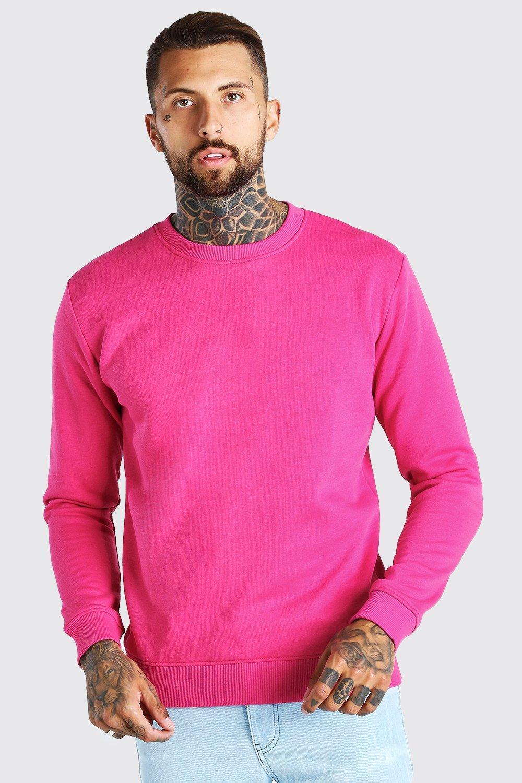 Men's Vintage Sweaters, Retro Jumpers 1920s to 1980s Mens Basic Crew Neck Fleece Sweatshirt - Pink $10.80 AT vintagedancer.com
