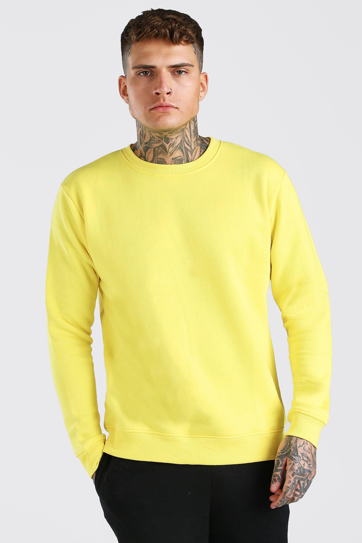 Men's Vintage Sweaters, Retro Jumpers 1920s to 1980s Mens Basic Crew Neck Fleece Sweatshirt - Yellow $10.80 AT vintagedancer.com