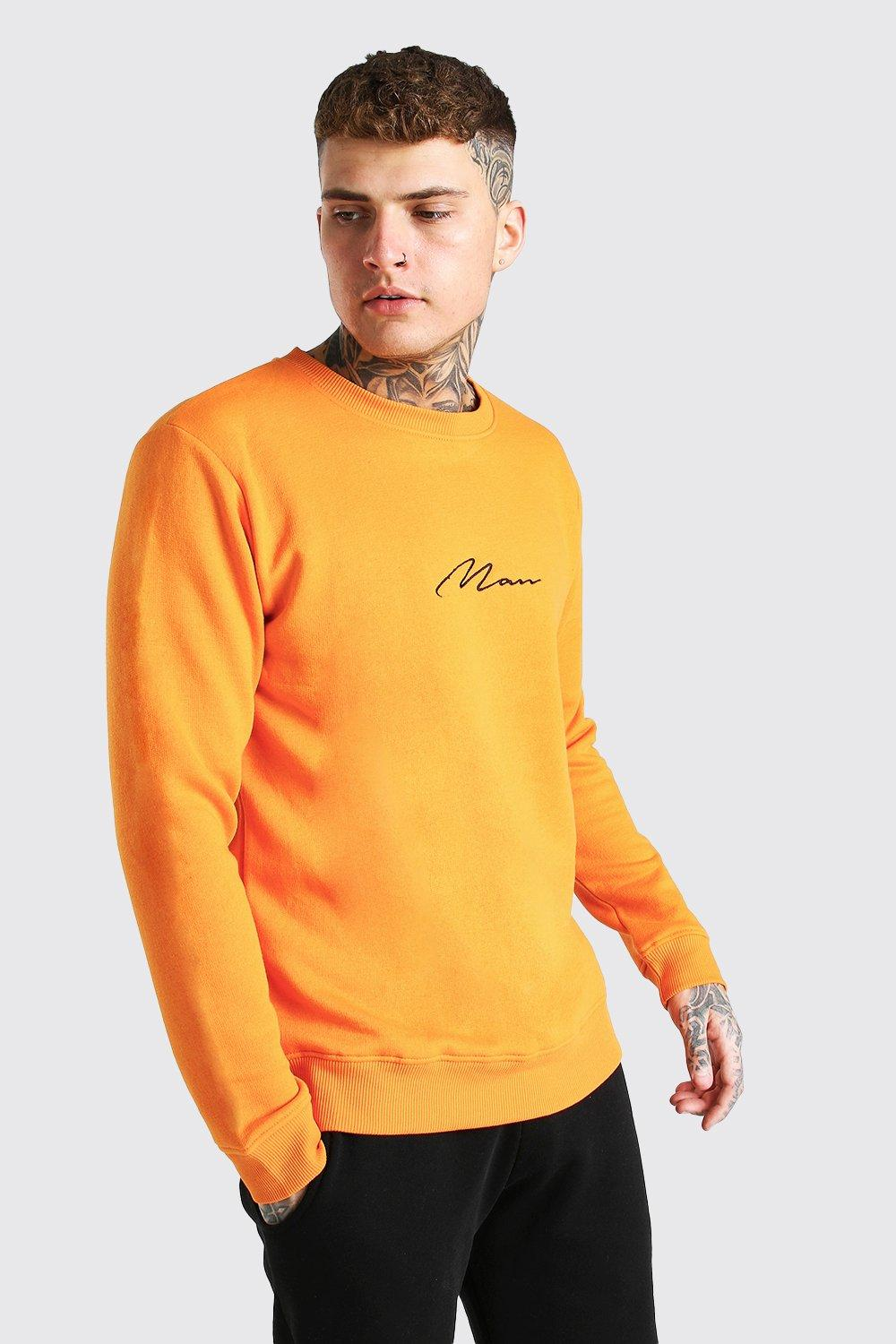 mens man signature embroidered sweatshirt - orange