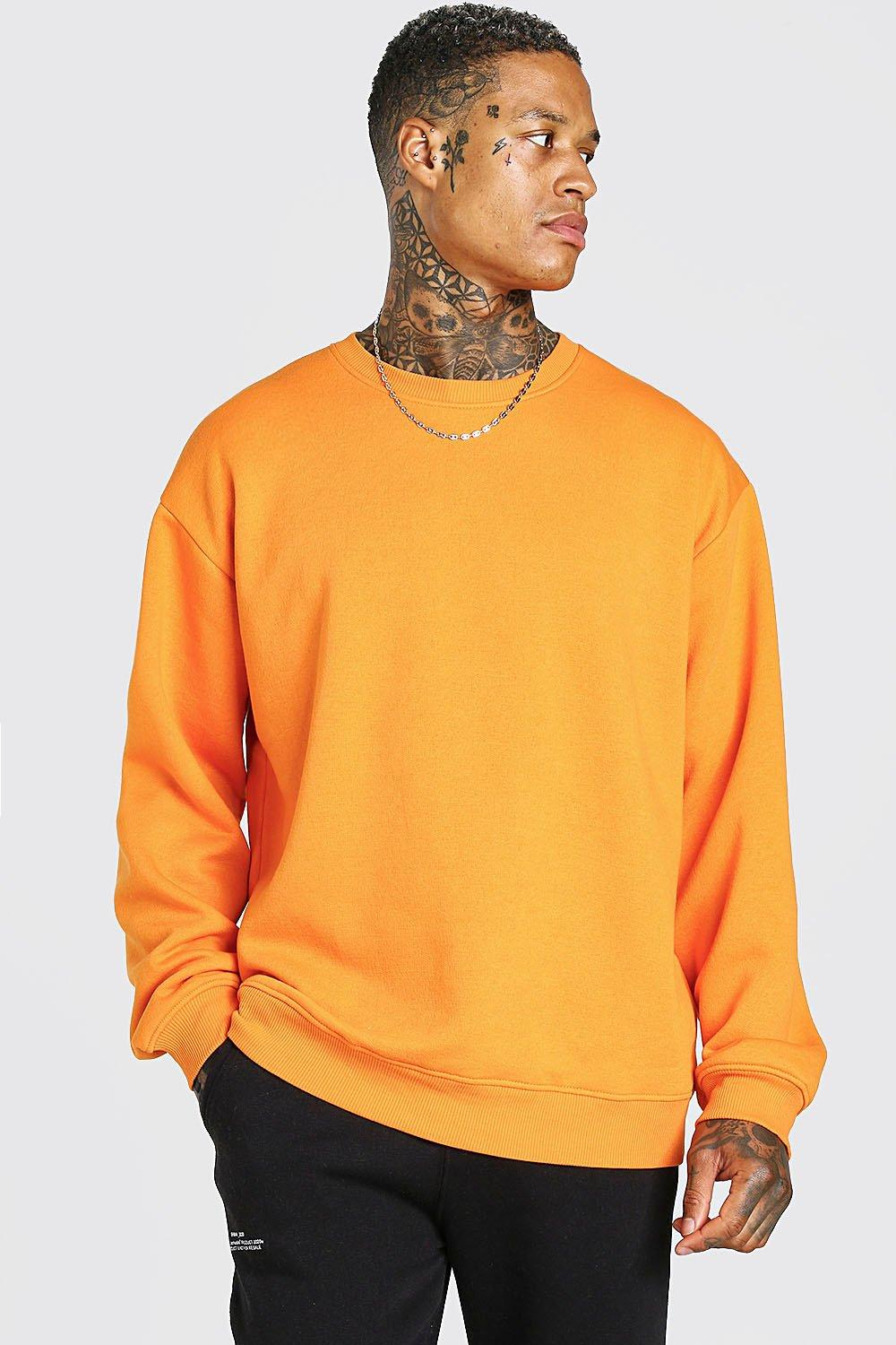 mens oversized fleece crew neck sweatshirt - orange