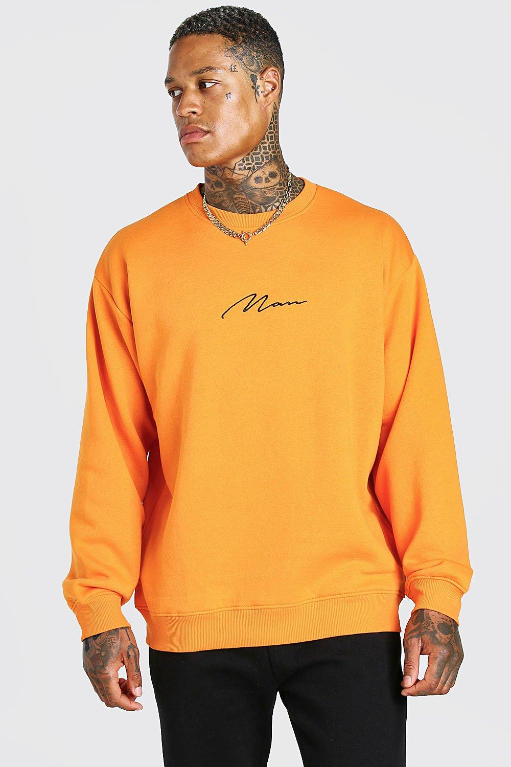 mens oversized man signature sweatshirt - orange