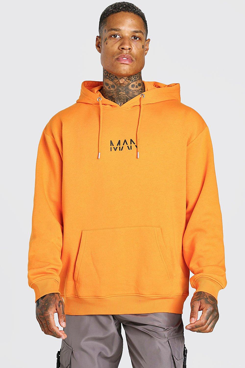 mens oversized original man over the head hoodie - orange