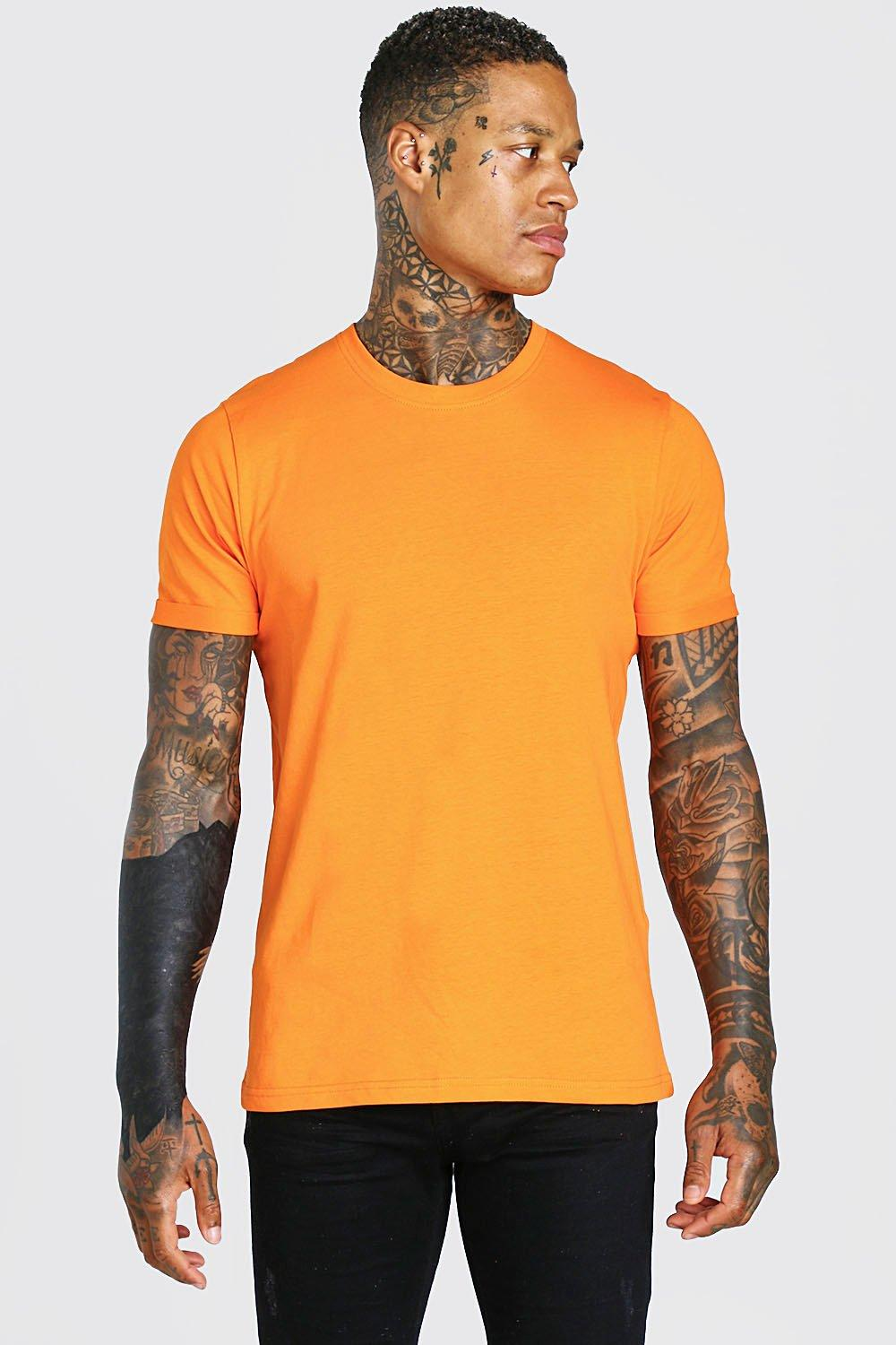 mens crew neck t-shirt with rolled sleeves - orange