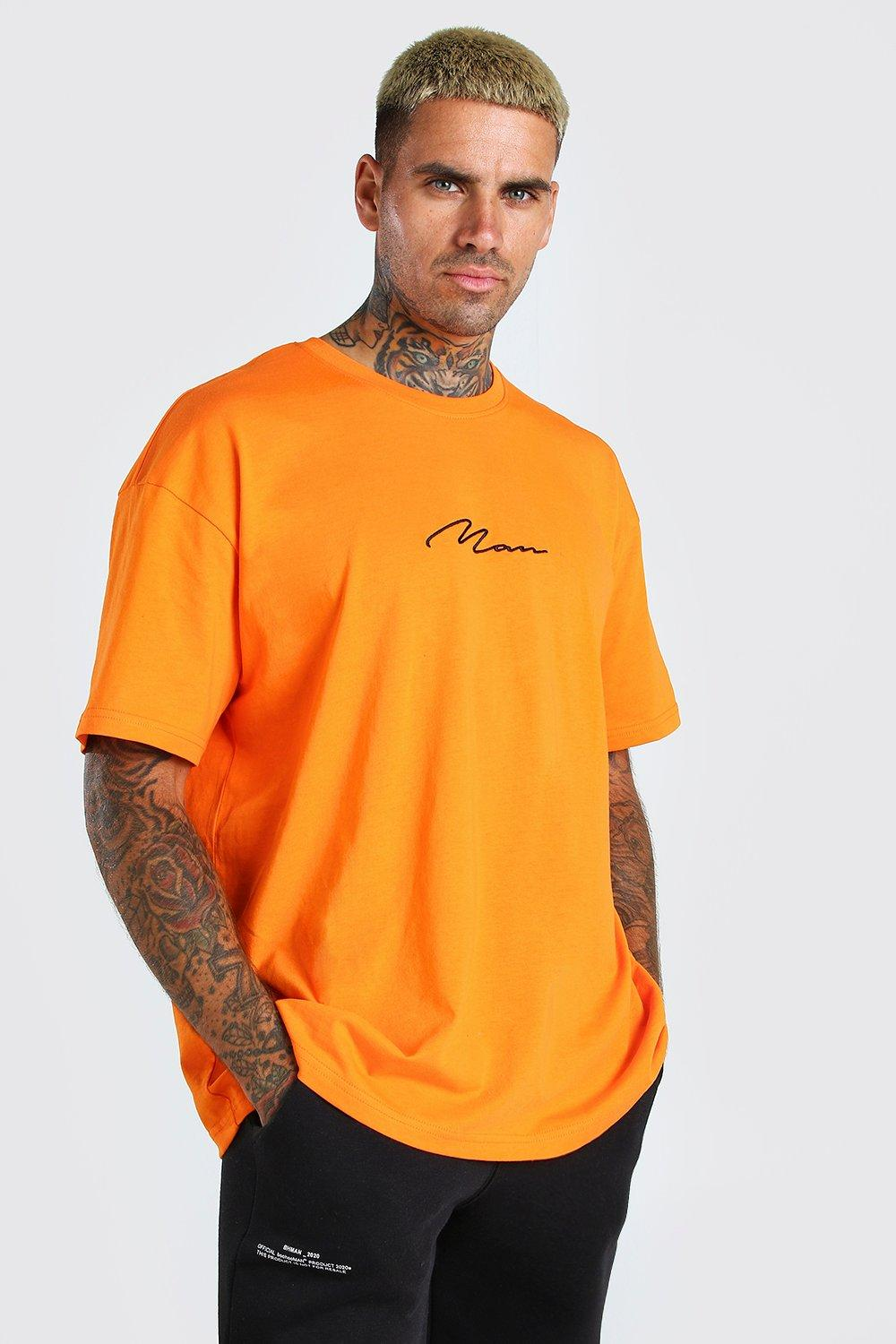 mens oversized man signature embroidered t-shirt - orange