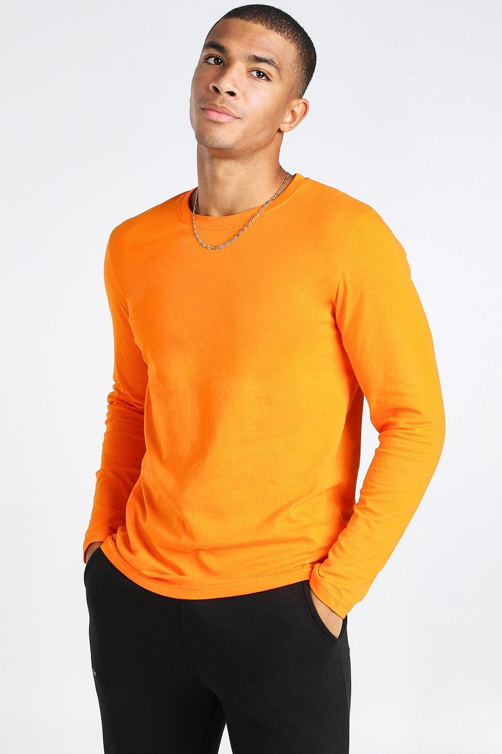 mens basic long sleeve crew neck t-shirt - orange